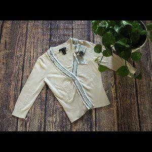 🌀 White House Black Market Cream Shirt Cardigan